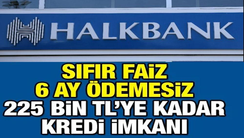 Halkbank Sıfır Faiz İle 225 Bin TL 6 Ay Ödemesiz Kredi