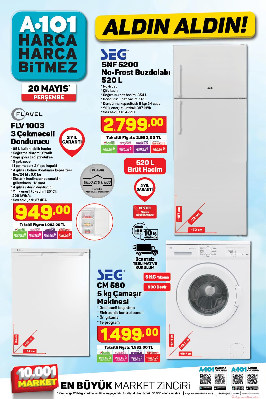 A101 Buzdolabı, Derin Dondurucu, Çamaşır Makinesi