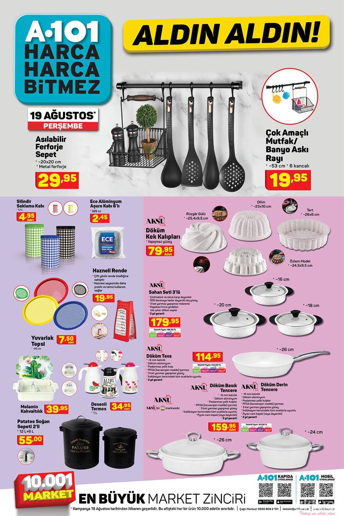 A101 19 Ağustos 2021 Mutfak Araç Gereçleri