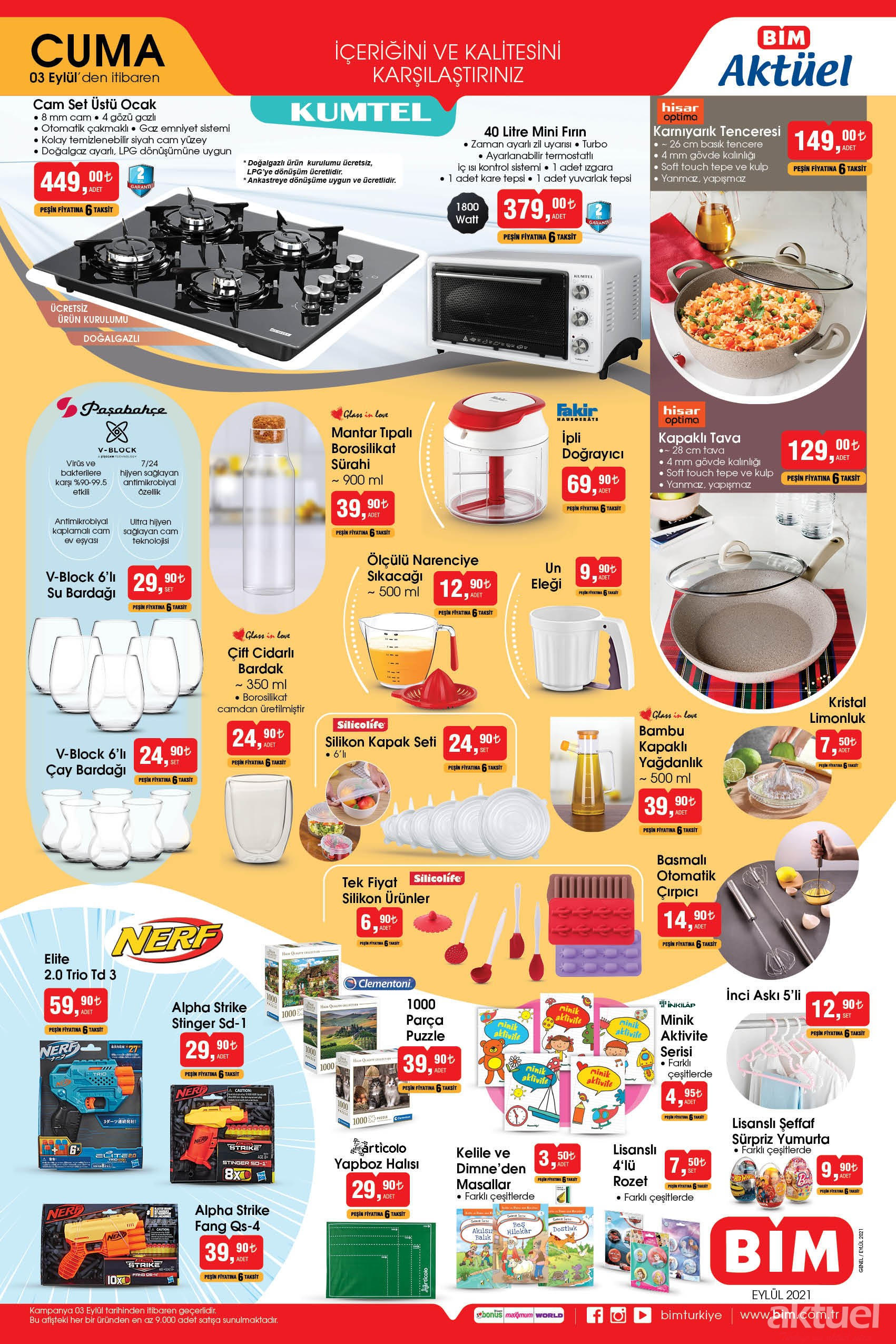 Bim 3 Eylül 2021 mutfak araç gereçleri
